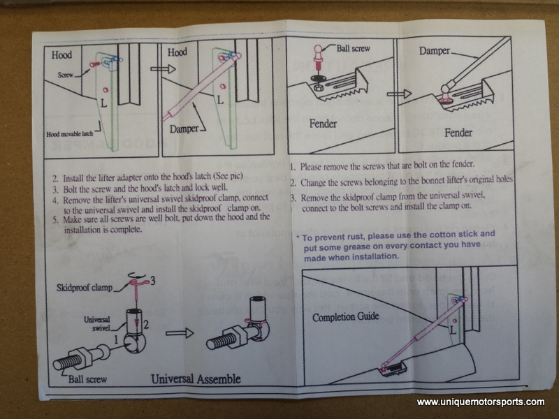 Instruction set that came with the dampers